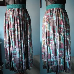 Vintage Casual corner abstract maxi skirt